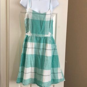Teal and White Plaid Dress